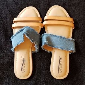Lane Bryant Slip On Blue Denim Sandals New